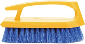 """Rubbermaid Commercial Products - Rubbermaid Commercial - Iron-Shaped Handle Scrub Brush, 6"""" Brush, Yellow Plastic Handle/Blue Bristles - Sold As 1 Each - Molded handle gives you a powerful grip. - Long-lasting blue polypropylene fill resists stains. - Durable plastic block."""