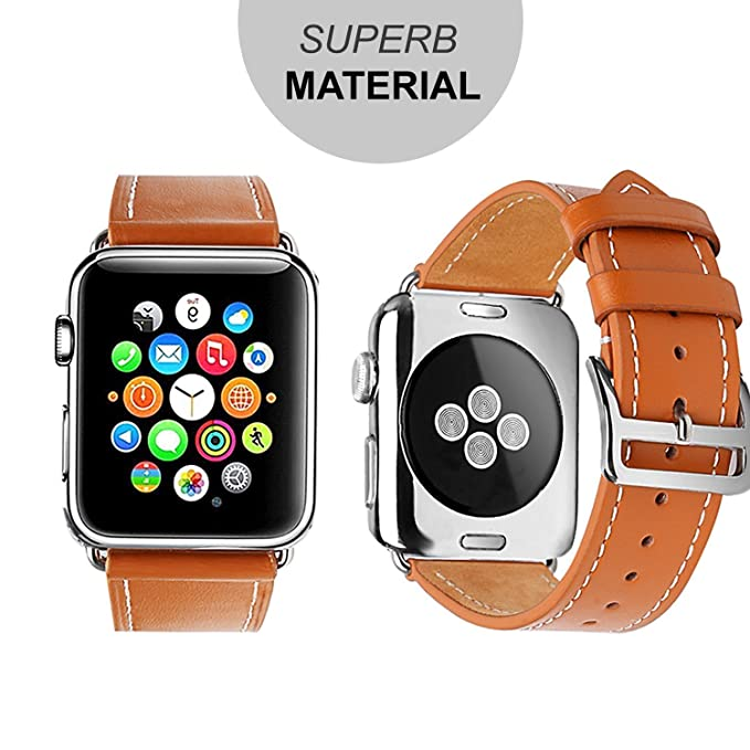 Amazon.com: for Apple Watch Bands,BEOOTCR Soft Genuine Leather Watch Replacement Bands Straps with Classic Metal Buckle for Apple Watch Series 38mm or 42mm ...