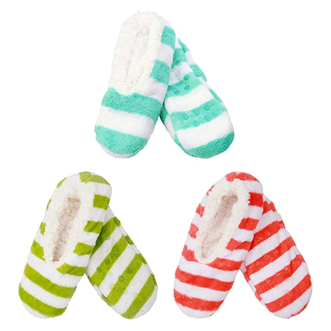 7fcefb21aa50 3 Pairs Adult Size Large Super Soft Warm Cozy Fuzzy Slippers Non-Slip Lined  Socks