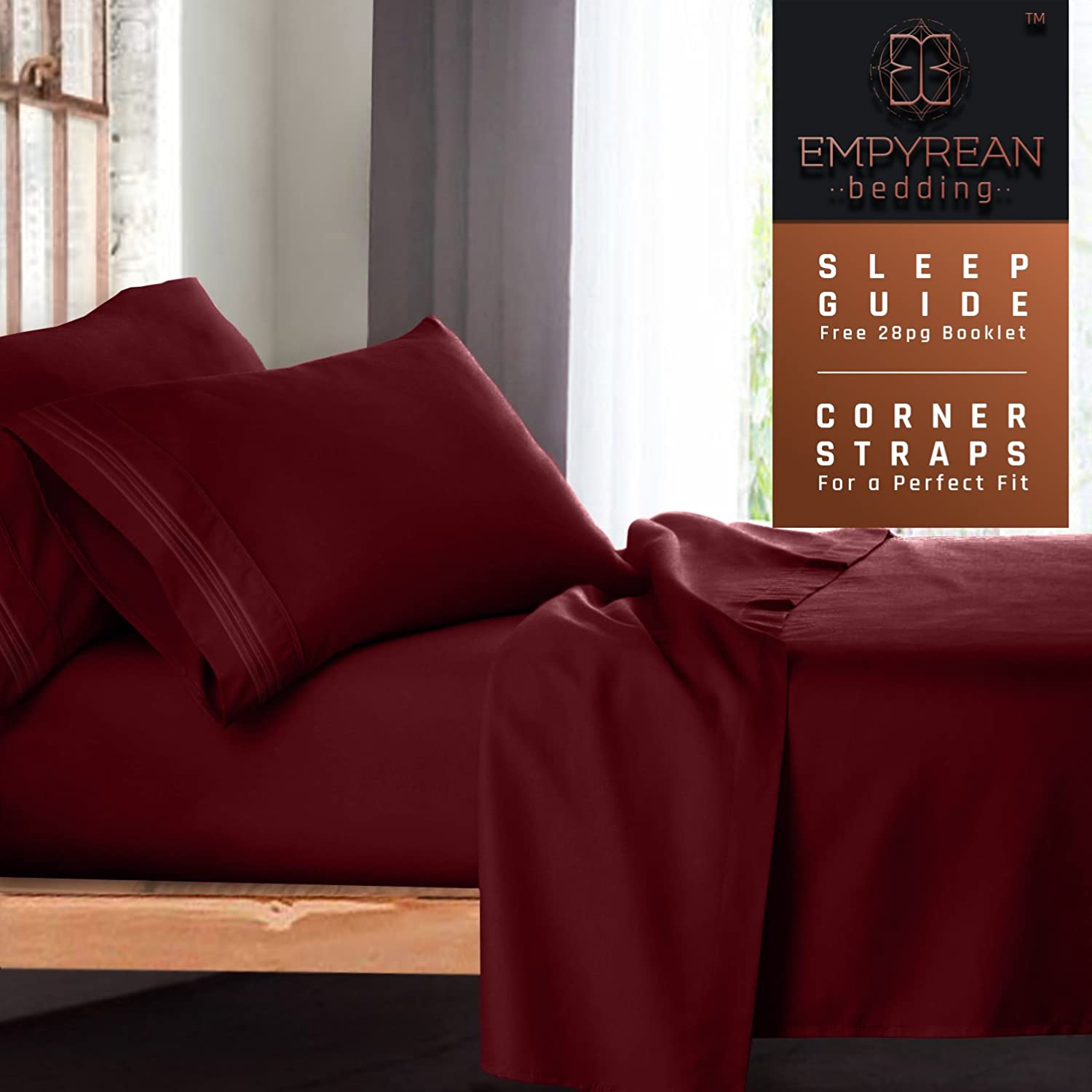 Red Burgundy - Soft Luxury Best Quality 4-Piece Bed Set