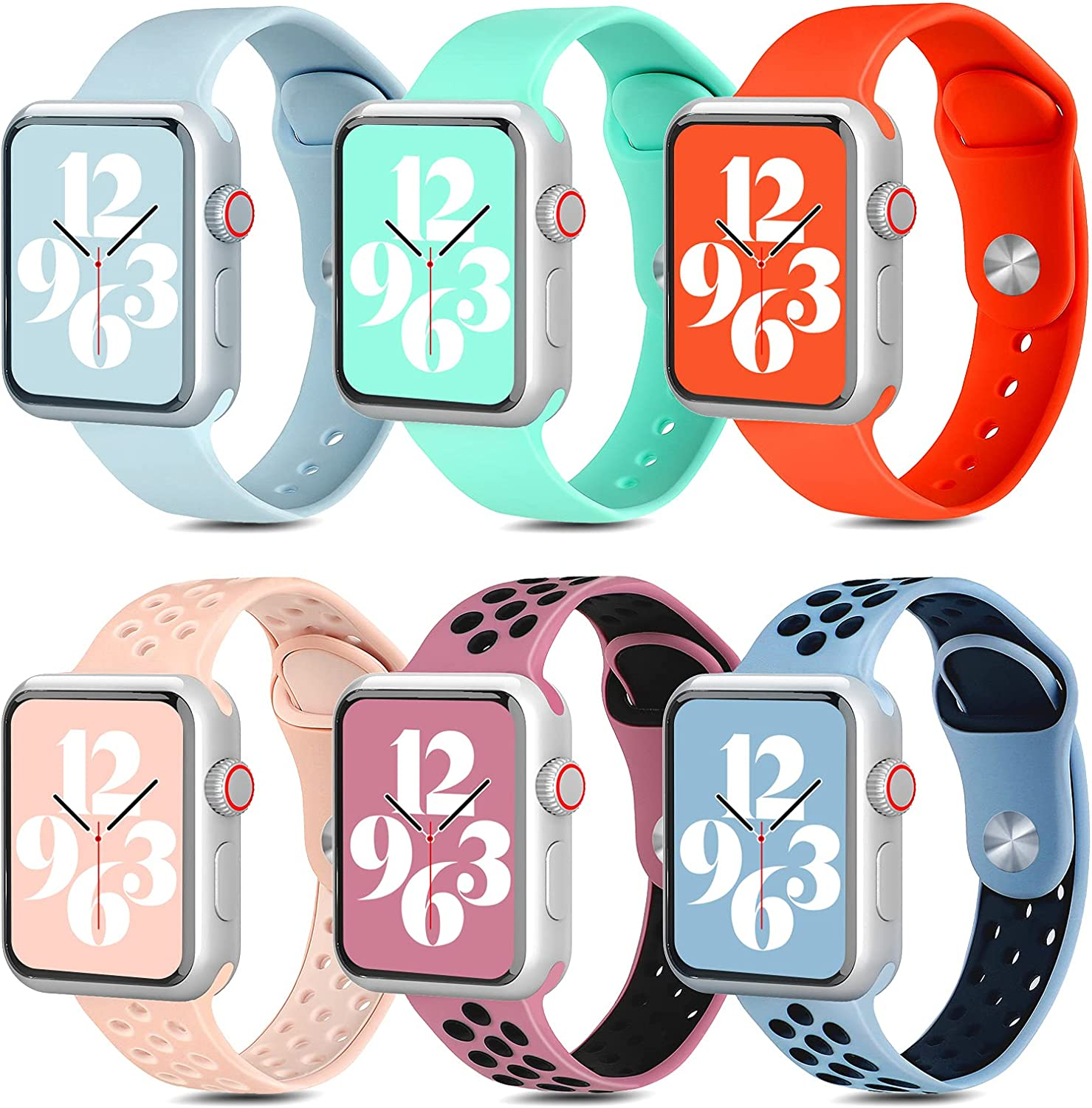 OFFTESTY 6 Pack Sport Bands Compatible with Apple Watch Band 38mm 40mm 42mm 44mm, Soft Silicone Apple Watch Strap Replacement for iWatch SE / Series 6/5/4/3/2/1