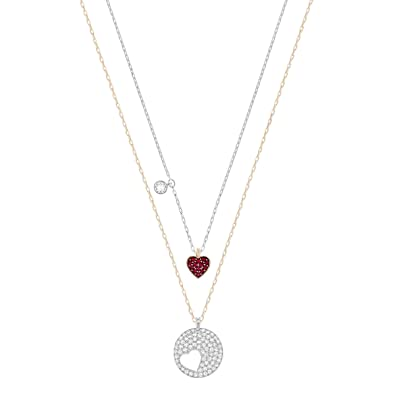 0f728641d Swarovski Crystal Wishes Heart Pendant Set, Red, Mixed plating:  Amazon.co.uk: Jewellery