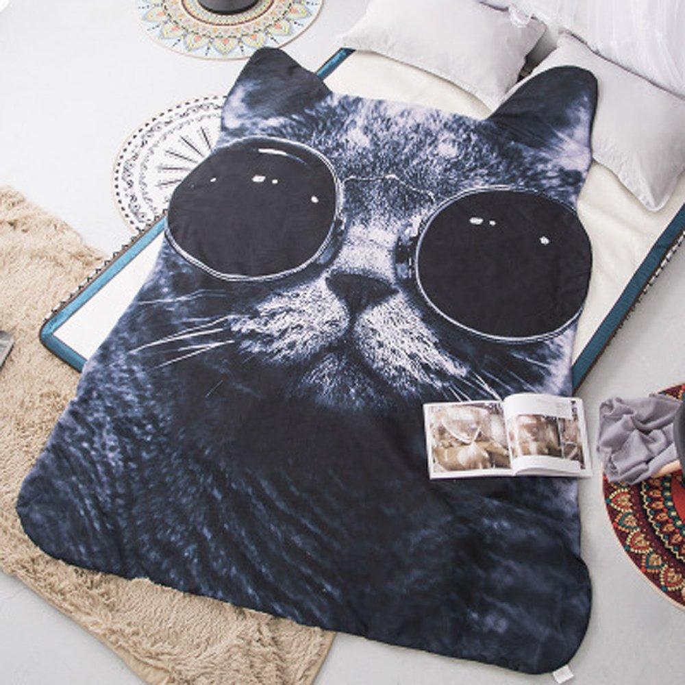 Koongso 3D Animal Prints Blanket Bedding Cat Shaped Summer Quilt Lovely Cat Comforter Washable Light Quilt