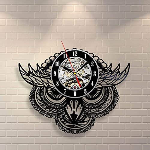 La Bella Casa Owl Birds Art Print Unique Art Vinyl Record Wall Clock
