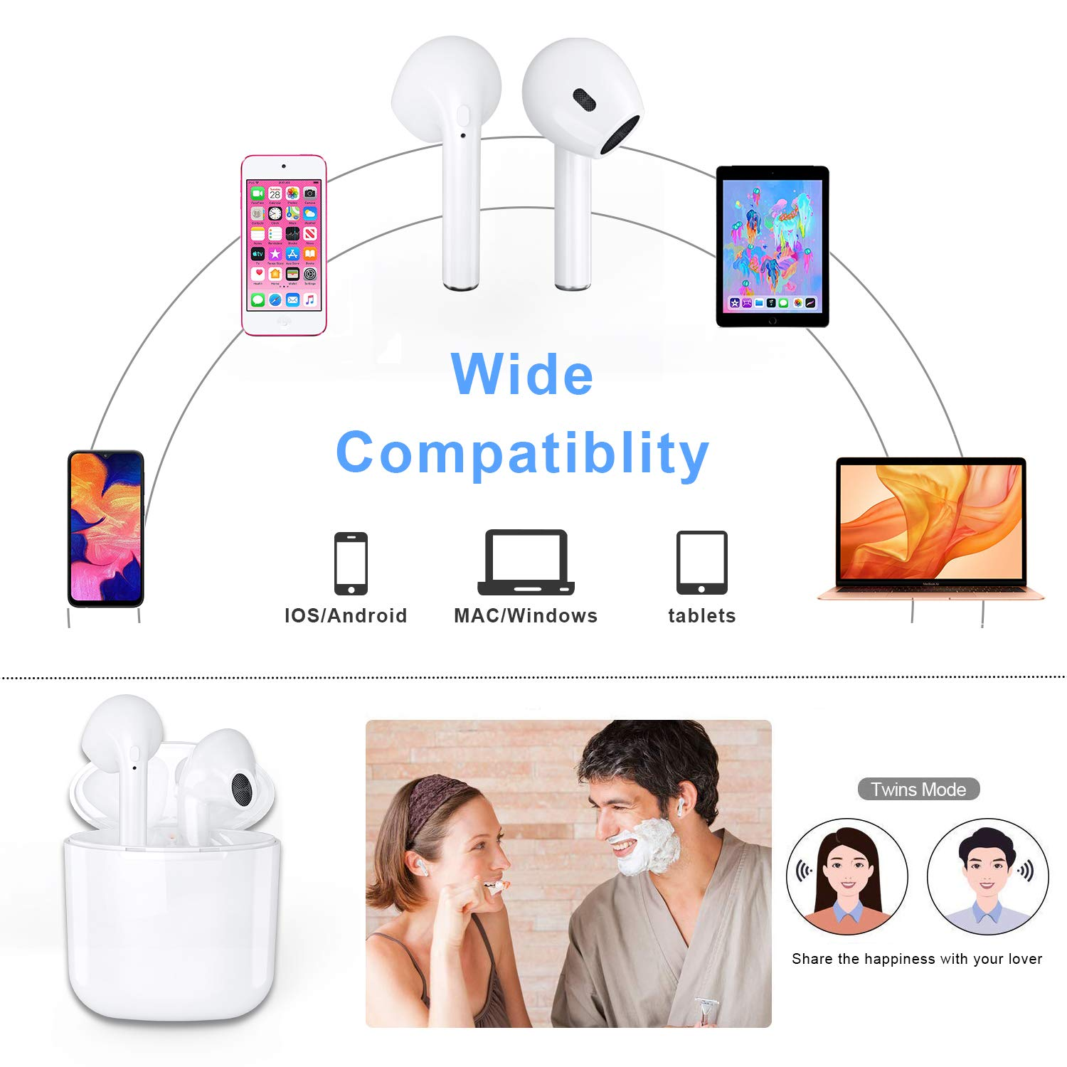 ZBC Wireless Earbuds I9 Bluetooth Earphones V5.0 Headphones in-Ear TWS Headsets Auto-Pair Airpods Mic Charging Case Sport Running Mini True Stereo Sound Noise Reduction Compatible iOS Android Samsung by ZBC (Image #5)