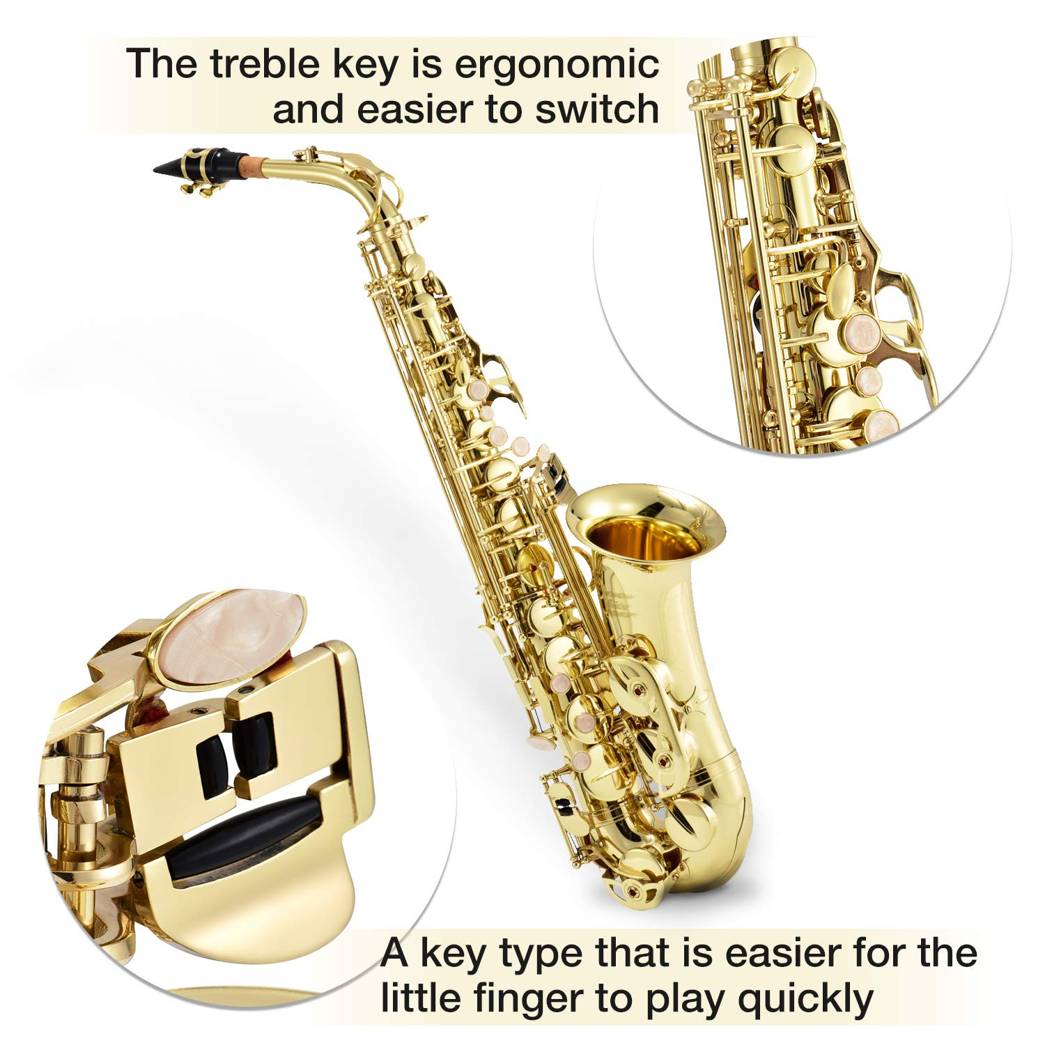 Eastar AS-Ⅱ Student Alto Saxophone E Flat Gold Lacquer Alto Sax Full Kit With Carrying Sax Case Mouthpiece Straps Reeds Stand Cork Grease by Eastar (Image #2)