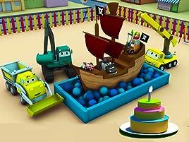 Equipo Constructor construye una Máquina para hacer pasteles y un Barco Pirata. ¡Ethan el camión volquete, Edgar la excavadora y Charlie la grúa son los ...