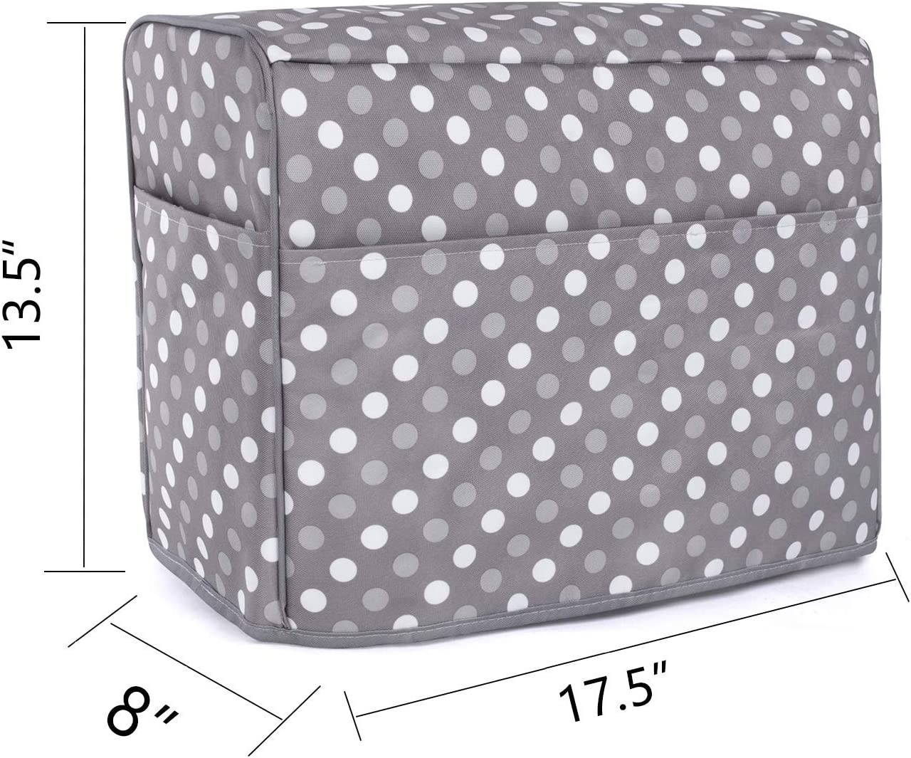 Gray Dots Luxja Dust Cover for Sewing Machine and Serger Machine Cover Compatible with Singer and Brother Serger Machine