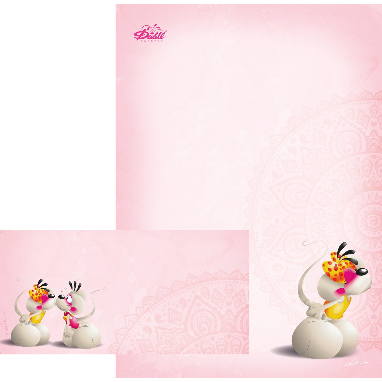 Diddl Forever 5 piccoli baci Carta da lettere e buste n DIN A4 K/üsschen
