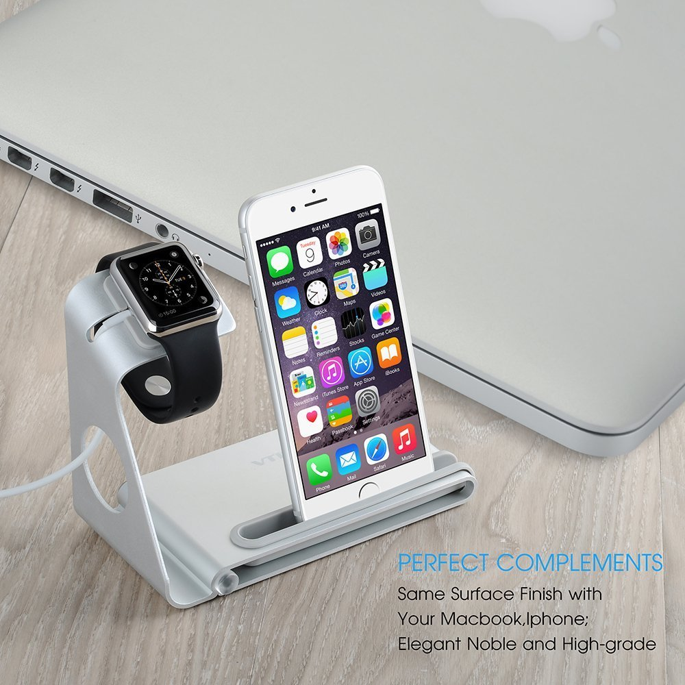 VTin DuoStand Charge Station/stand de Aleación de aluminio/ soporte del cargador / Desk Stand Cradle para Apple Watch 38/42 mm & iPhone o otros ...