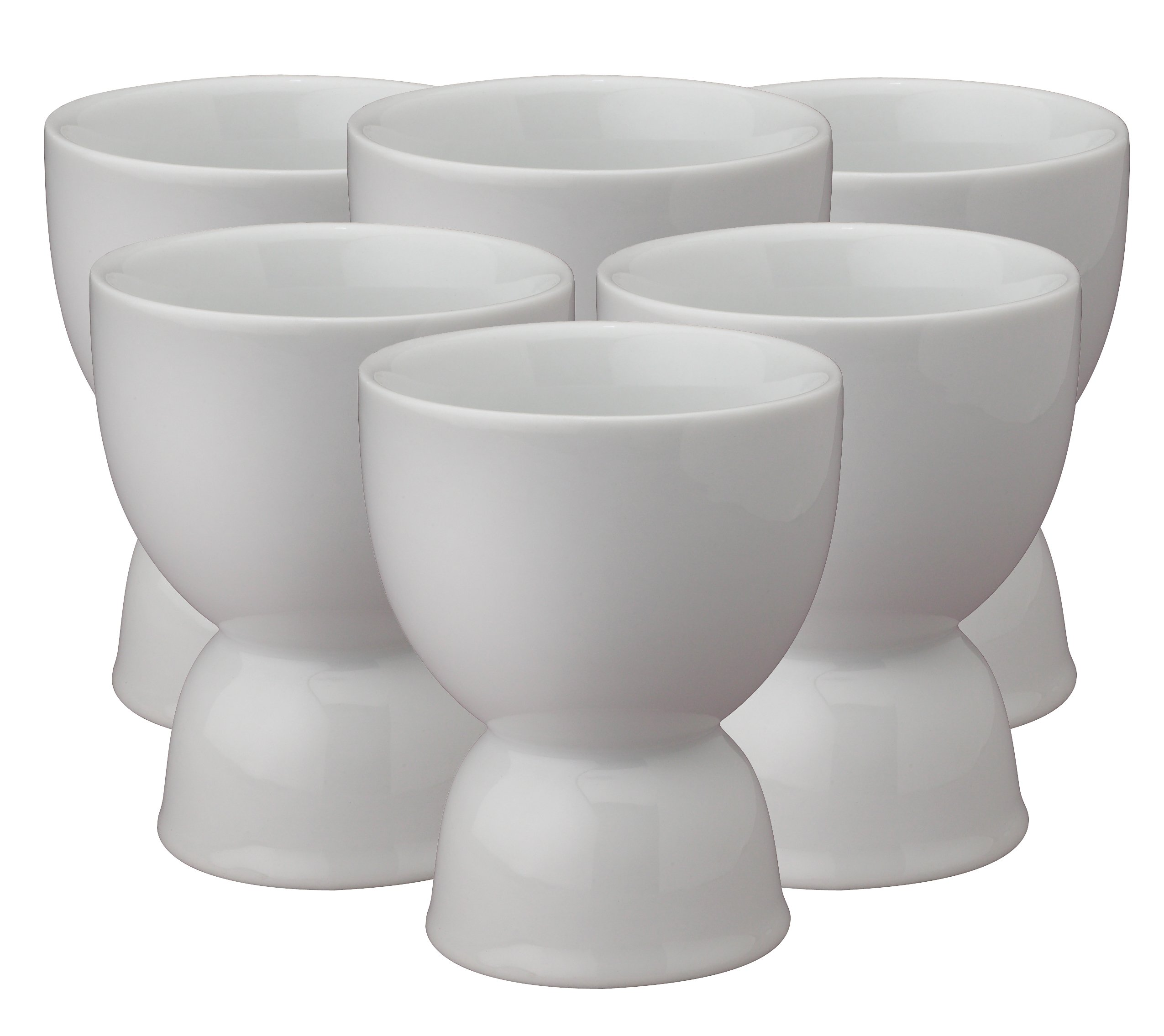 HIC Harold Import Co. 400220/6 HIC Double Egg Cups, Fine Porcelain, White, Set of 6,