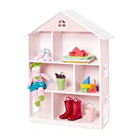 Wildkin Kids Wooden Dollhouse Bookcase for Girls, Measures 42 x 12 x 33 Inches, Dollhouse Bookshelf Keep Toys, Games, Books, and Art Supplies Organized, Ideal for Bedroom or Playroom, BPA-Free (Pink)