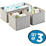 House of Quirk Storage Box Set of 3 Closet Dresser Drawer Organizer Cube Basket Bins Containers Divider with Drawers for Underwear, Bras, Socks, Ties, Scarves, Grey