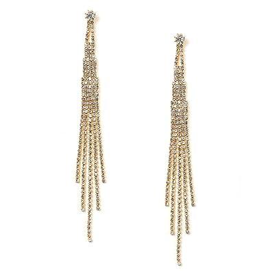 Amazon.com  Gold Crystal Rhinestone Long 5 Strands Dangle Earrings  Jewelry 754951aac961