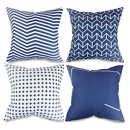 Amazon Popeven Navy Blue Decorative Pillow Covers Set Of 40 Enchanting Navy And White Decorative Pillows
