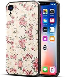 Girlscases® | iPhone XR Hülle in Schwarz mit Blumen/Flowers Schutzhülle aus Silikon mit Blumen/Flowers Aufdruck/Motiv Glänzend | Farbe: Rosa/Grün / Creme