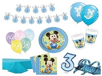 Xxl Party Deko Set 3 Geburtstag Mickey Baby Kindergeburtstag Fur 16