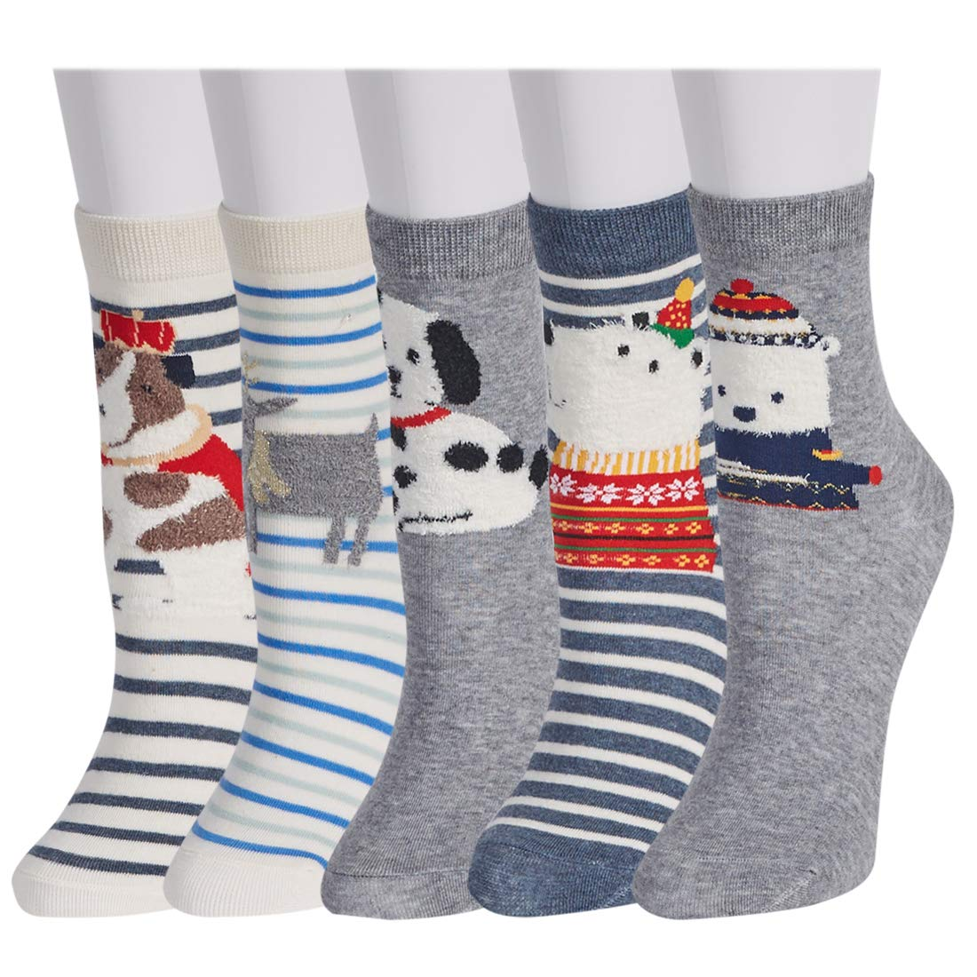 Casual Cute Cartoon Socks 5 Pairs - Novelty Cotton Funny Animal Crew Socks for Women and Girls