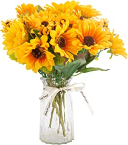 Huryfox 6 Pack Artificial Sunflowers, 78PCS Fake Sunflowers, Faux Silk Flowers Party Decorations, Home Decor Plants for Wedding Decoration Greenery Shelf Desk Office Bedroom (Yellow)
