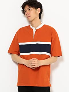 Short Sleeve Stripe Band Collar Rugby Shirt 3217-199-4485: Orange