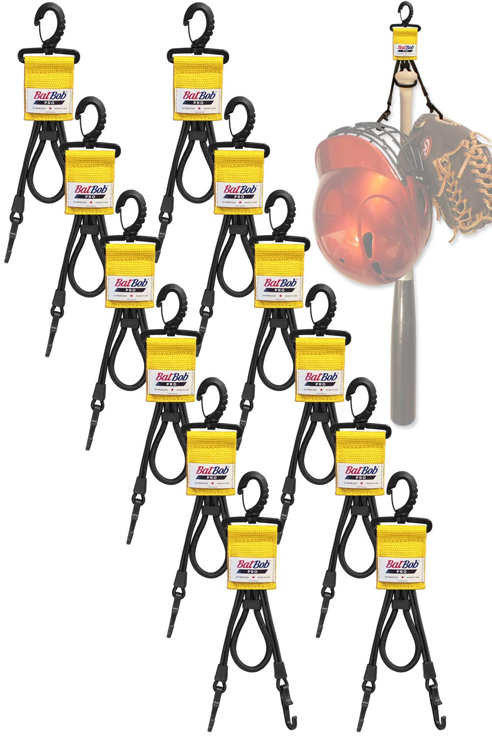BatBob (Team 12 pack) Dugout Gear Hanger - The Dugout Organizer - For Baseball and Softball to hold bats, helmets and gloves (Gold) by BatBob