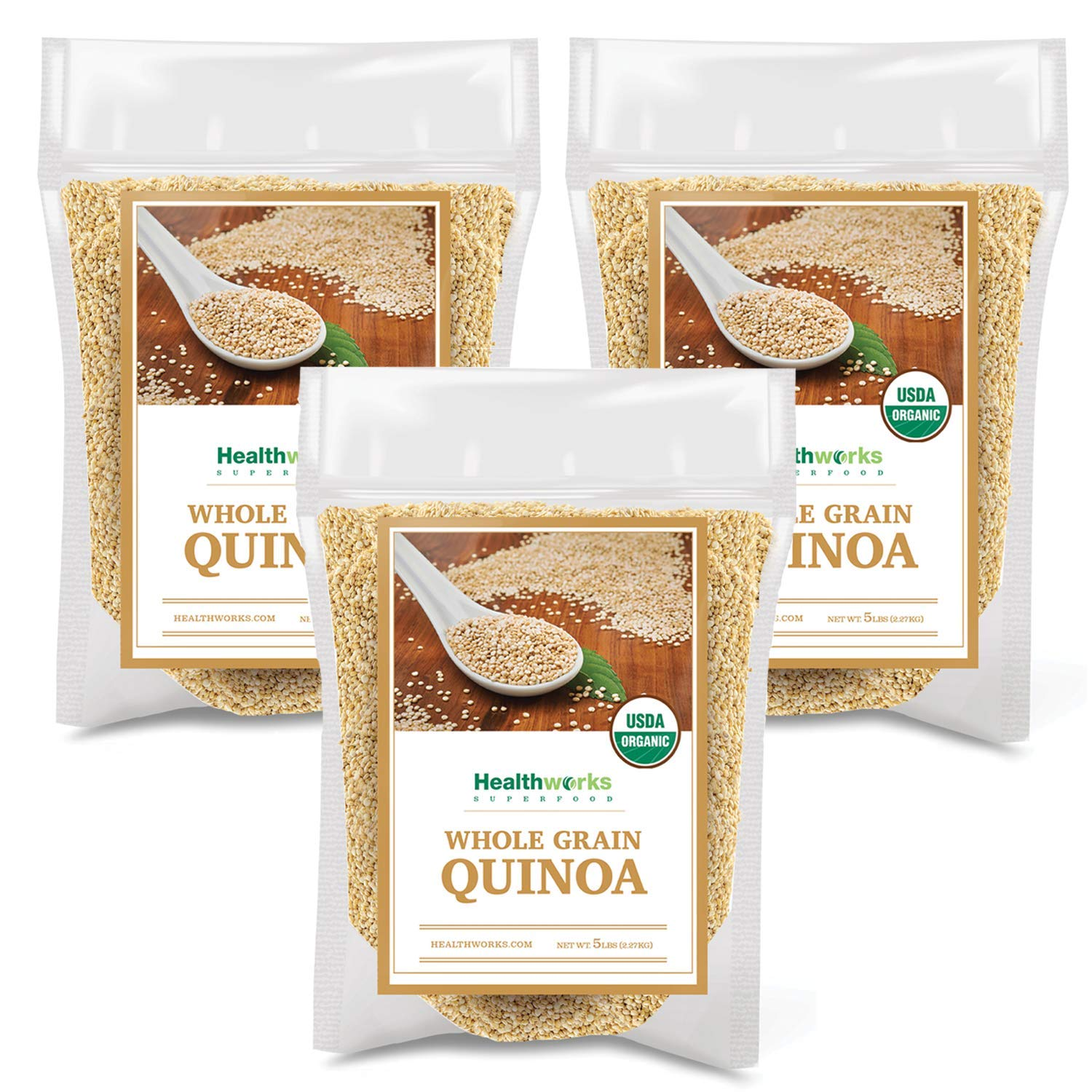 Healthworks Quinoa White Whole Grain Raw Organic (240 Ounces / 15 Pounds) (3 x 5 Pound Bags) | Protein, Fiber & Iron | Peruvian Origin | Rice & Pasta Substitute by Healthworks