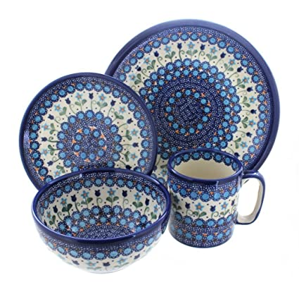 Polish Pottery Savannah 4 Piece Dinner Set  sc 1 st  Amazon.com & Amazon.com: Polish Pottery Savannah 4 Piece Dinner Set: Dinnerware ...