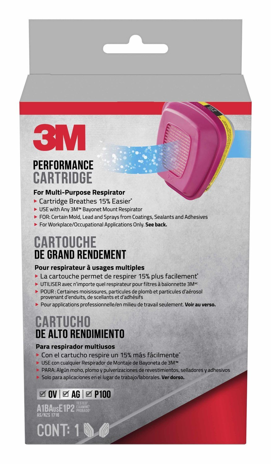 3M 60923HB1-C Replacement Cartridges for Professional Multi-Purpose Respirator (Packaging may vary)
