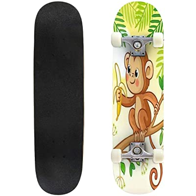 Classic Concave Skateboard Monkey Sits on a Tree and eats a Banana Cute Animal in Cartoon Style Longboard Maple Deck Extreme Sports and Outdoors Double Kick Trick for Beginners and Professionals : Sports & Outdoors