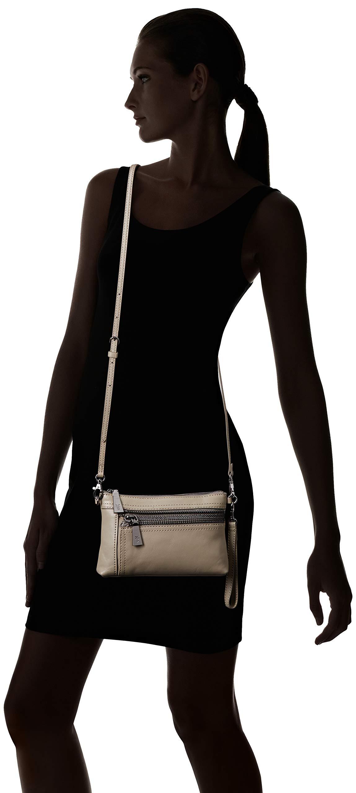 FRYE Lena Zip Leather Crossbody Wristlet Bag, grey by FRYE (Image #7)