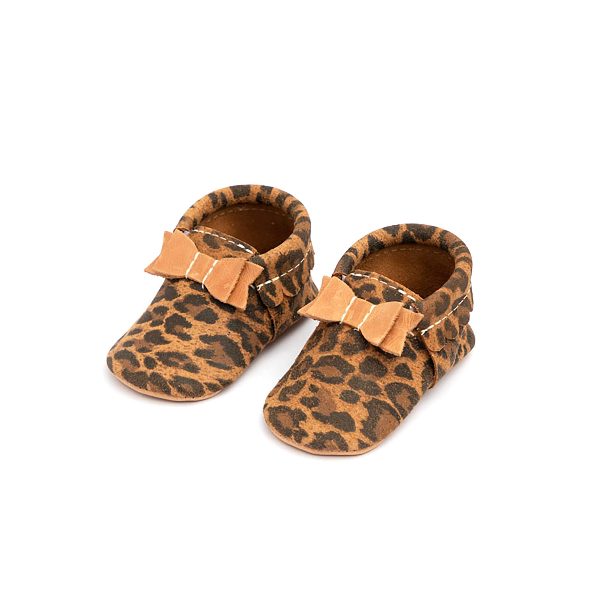 Freshly Picked - Soft Sole Leather Bow Moccasins - Baby Girl Shoes - Size 4 Leopard Print by Freshly Picked