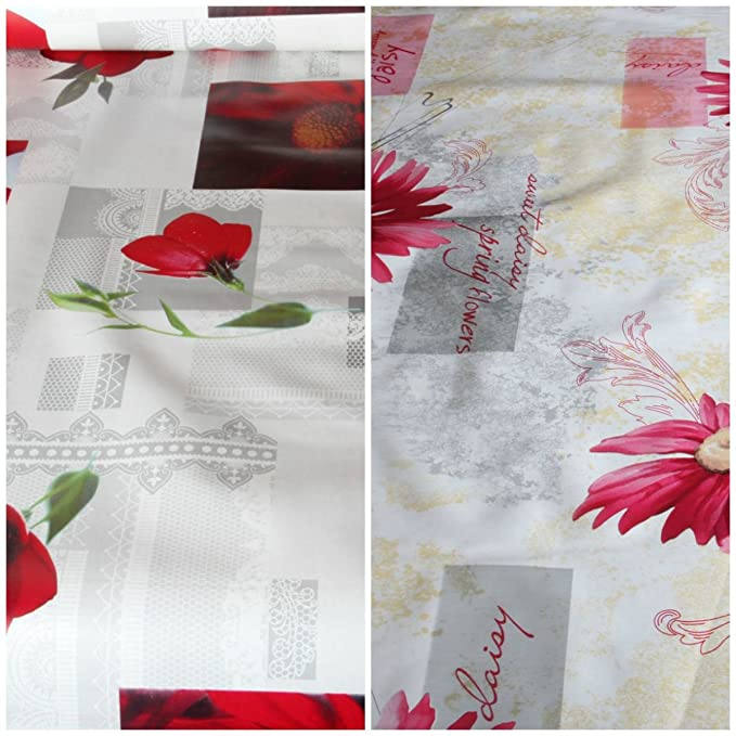 facile à nettoyer Fleurs Imprimé floral PVC Nappe en vinyle salle à manger Table de Cuisine, 140x140 cm