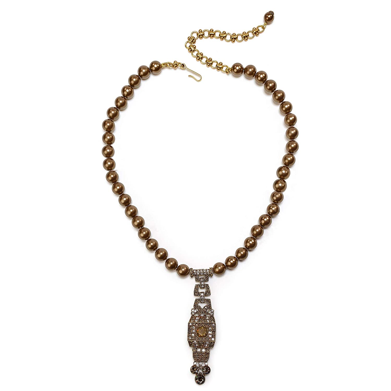 Vintage Style Jewelry, Retro Jewelry Heidi Daus Simple and Stylish Crystal Art Deco Single Strand Brown Pearled Drop Necklace $159.95 AT vintagedancer.com