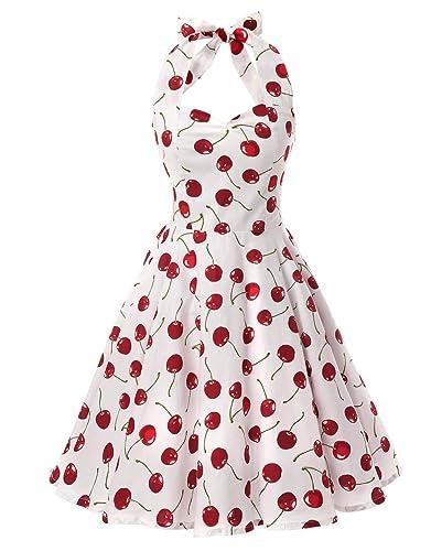Ensnovo Womens Vintage 1950s Halter Floral Spring Garden Party Picnic Dress