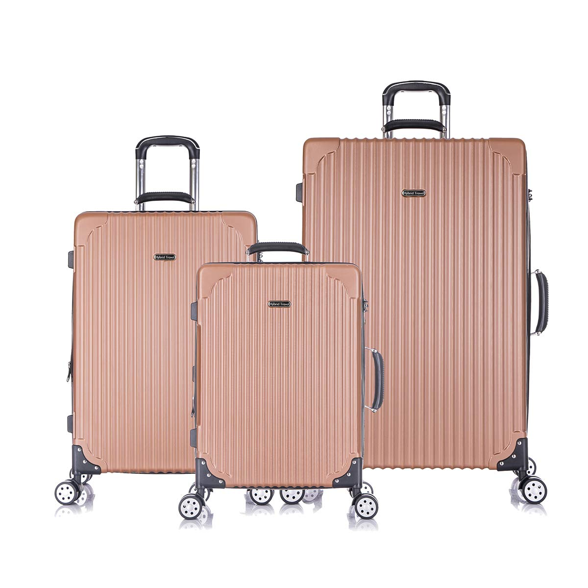 3 PC Luggage Set Durable Phone Charge Feature Suitecase LUG3 LY69 BRONZE