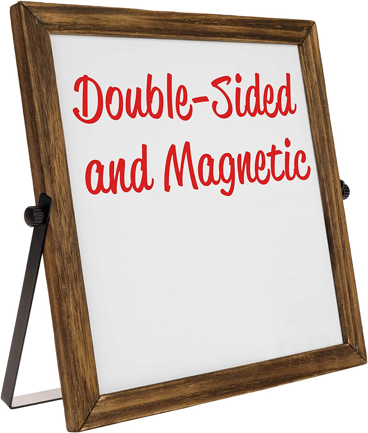 "Rustic Double Sided 11"" x 11"" Whiteboard: Reversible, Double Sided, Dry Erase, Magnetic, Small, Portable, Table Top Easel Board with Stand and Wooden Frame"
