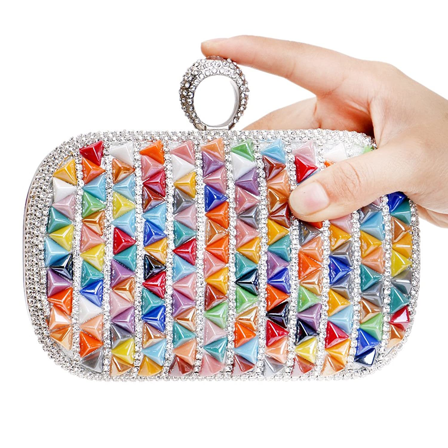 Mlotus Colorful Ladies One Ring Party Handbag Purse Crystal Pleated Bridal Evening Clutch