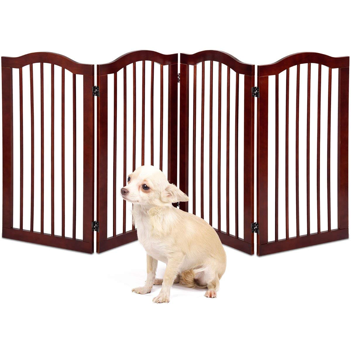 Giantex 4 Panel Wood Dog Gate Pet Fence Barrier Folding Freestanding Doorway Fence Doggie Puppy Fencing Enclosure System Indoor Safety Gate for Dogs (36'')