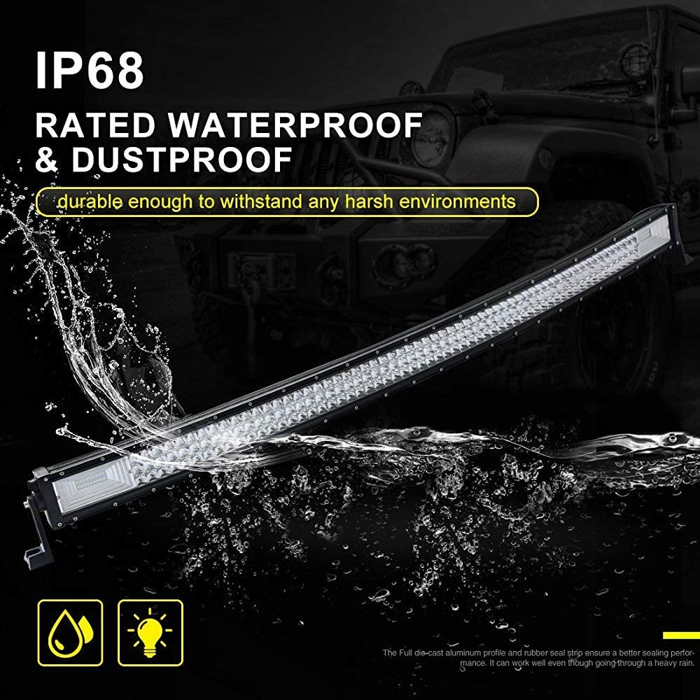 Willpower 52 inch Curved LED Light Bar 675W Spot Flood Combo Triple Row Led Off road Driving Fog Work Lights with Mounting Bracket for 4WD 4X4 ATV Pickup Truck Tractor Boat