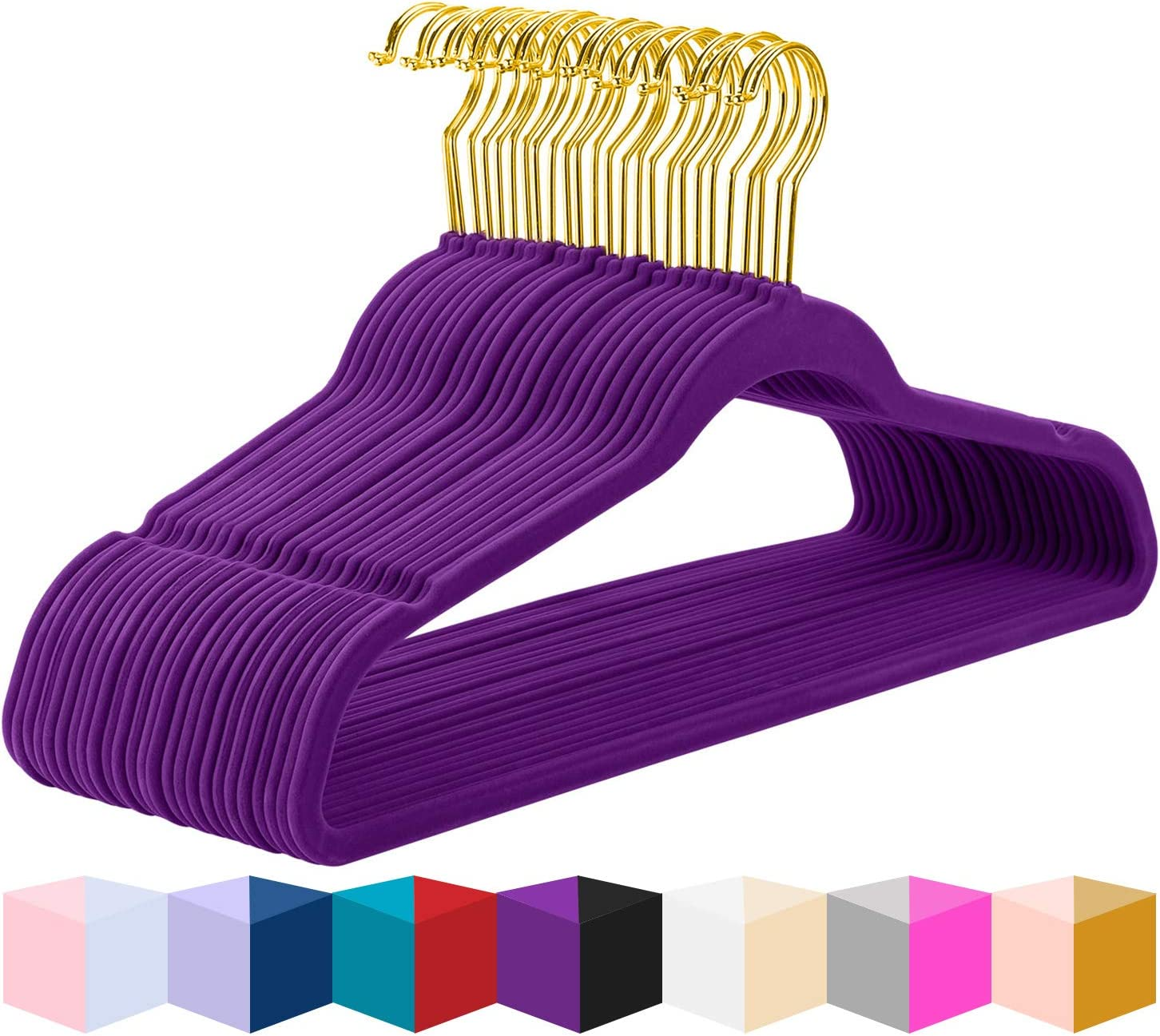 MIZGI Premium Velvet Hangers Pack 50 Pcs Heavyduty - Non Slip Slimline - Velvet Suit Hangers Dark Purple - Gold Hooks,Space Saving Clothes Hanger(Dark Purple) …