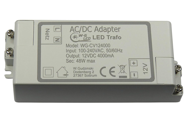 LED-TRAFO 12V-DC 48W max. Transformator-Netzteil 4A W-G LED