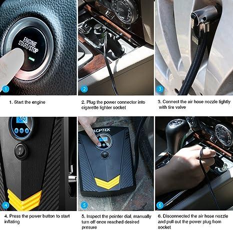 Negro AGPTEK Compresor de Aire Port/átil Inflador El/éctrico Bomba de Aire 12V con Pantalla Digital LCD y Luz LED Presi/ón de 150PSI para Neum/áticos//Bici//Coche//Motocicleta 3 Adaptadores y Cable 3M