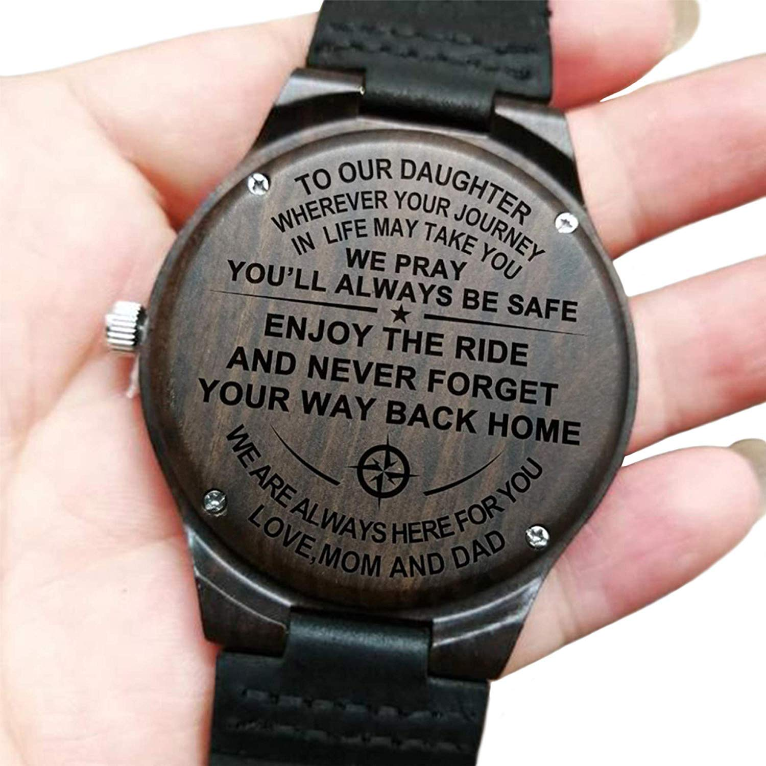 to Our Daughter Always Be Safe Love Mom and Dad Engraved Wooden Watch for Daughter Anniversary Birthday Gift