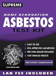 Asbestos Test Kit - Includes Asbestos Test Kit Lab Analysis, Pre-Paid Return Mailer, Fast Emailed Asbestos Test Results in 1 Week (5 Business Days) and Expert Asbestos Test Kit Consultation