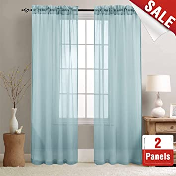 Jinchan Sheer Curtains Blue 84 Inch Length Window Curtain Set For Living Room Drapes Textured Voile