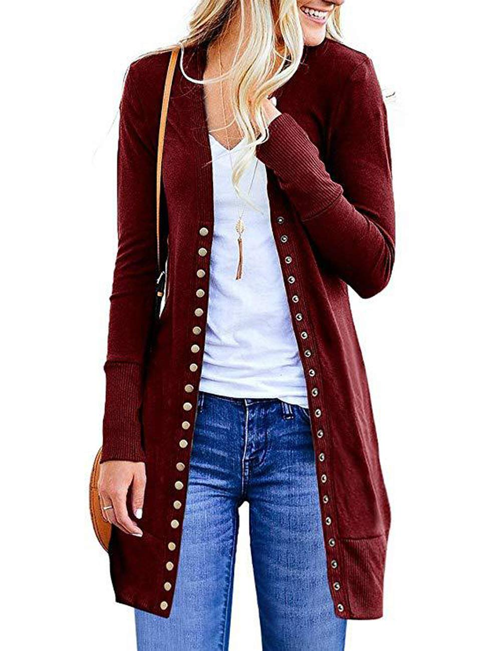 Fuwenni Women's Casual Soft V-Neck Long Sleeve Snap Button Down Knit Cardigan Sweater Wine Red L