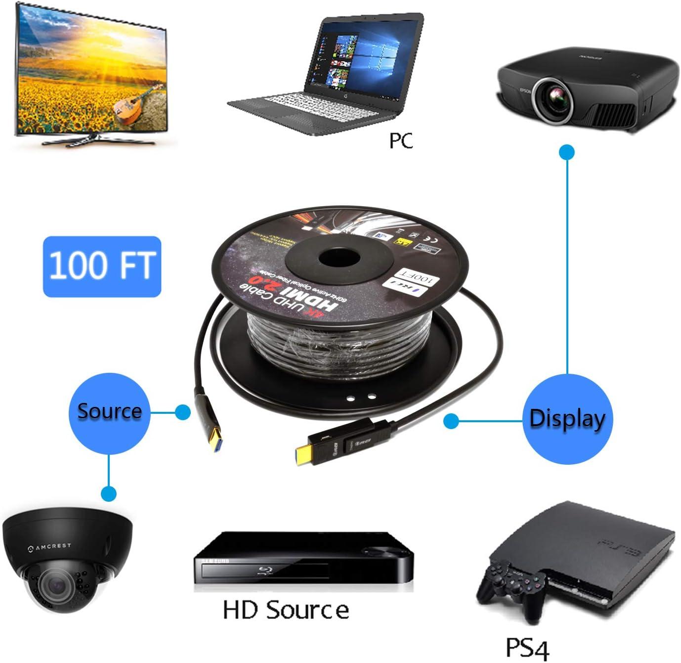 High Speed 18Gbps Subsampling 4: 2: 0 Slim and Flexible HDMI Fiber HDCP2.2 3D Arc Orei Fiber Optic Active HDMI Cable 4K 150ft @ 60Hz Fiber Optic HDMI Cable 2.0B HDR