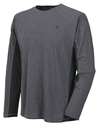 ec0bc0e922df Image Unavailable. Image not available for. Color  Champion Vapor Mens Long  Sleeve T-Shirt Granite Heather Black Small