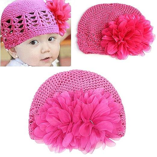 fa398be68dc Amazon.com  FuzzyGreen Super Cute Flower Design Toddler Infant Baby Girls  Kids Crochet Knitting Beanie Hat (Rose Red)  Clothing