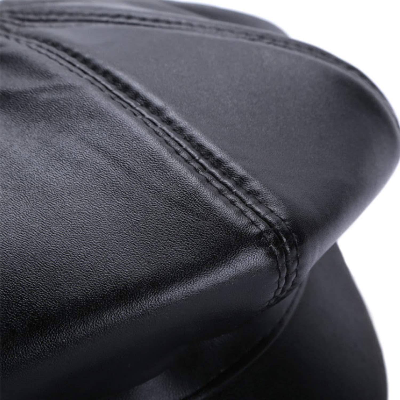 Winter 100/% Leather Beret Newsboy Hats Women Men S//M//L Size Genuine Octagonal